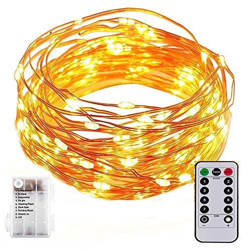EONANT Guirlande LED Lumineuse à Piles,33ft 100 LED Chaîne de Lumières de Fil avec Télécommande Etanche Décoration intérieur et extérieur pour Noël Mariage Soirée Maison Jardin(Blanc Chaud)