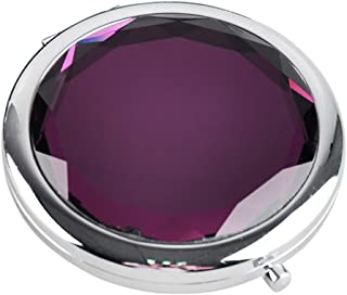 GeekChef Round Double Sides Portable Foldable Pocket Makeup Compact Mirror Metal Pocket Cosmetic Mirror For Women (Purple)