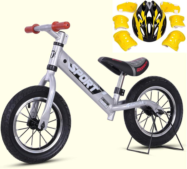CHRISTMAD Baby-Balance-Fahrrad Mit Verstellbarem Griff Und Sitzhhe Mit No-Pedal-Kinderfahrrad Mit Schutzausrüstung Für Jungen Und Mdchen (2-5 Jahre),A-Silber