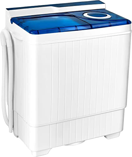 discount Giantex Washing Machine Semi-automatic, Twin popular Tub Washer with Spin Dryer, 26lbs Capacity, Built-in Drain Pump, Portable Laundry Washer, Compact Washing Machine for Apartment, Dorm and RV high quality (White+Blue) online