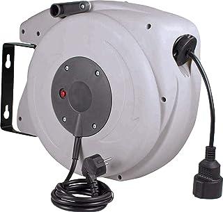 as   Schwabe Automatischer Kabelaufroller für den Innenbereich – 15 m Kupplungsleitung & 1,5 m Steckerzuleitung – 230 V / 16 A robuste Kabeltrommel mit Aufrollautomatik IP20 GRAU as 12611