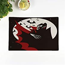 rouihot Set of 8 Placemats Red Bat Evil Vampire in The Night Black Bloodsucker Non-Slip Doily Place Mat for Dining Kitchen Table