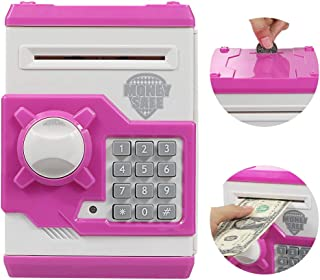 Cargooy Mini ATM Piggy Bank ATM Machine Best Gift for Kids,Electronic Code Piggy Bank Money Counter Safe Box Coin Bank for Boys Girls Password Lock Case (Pink)