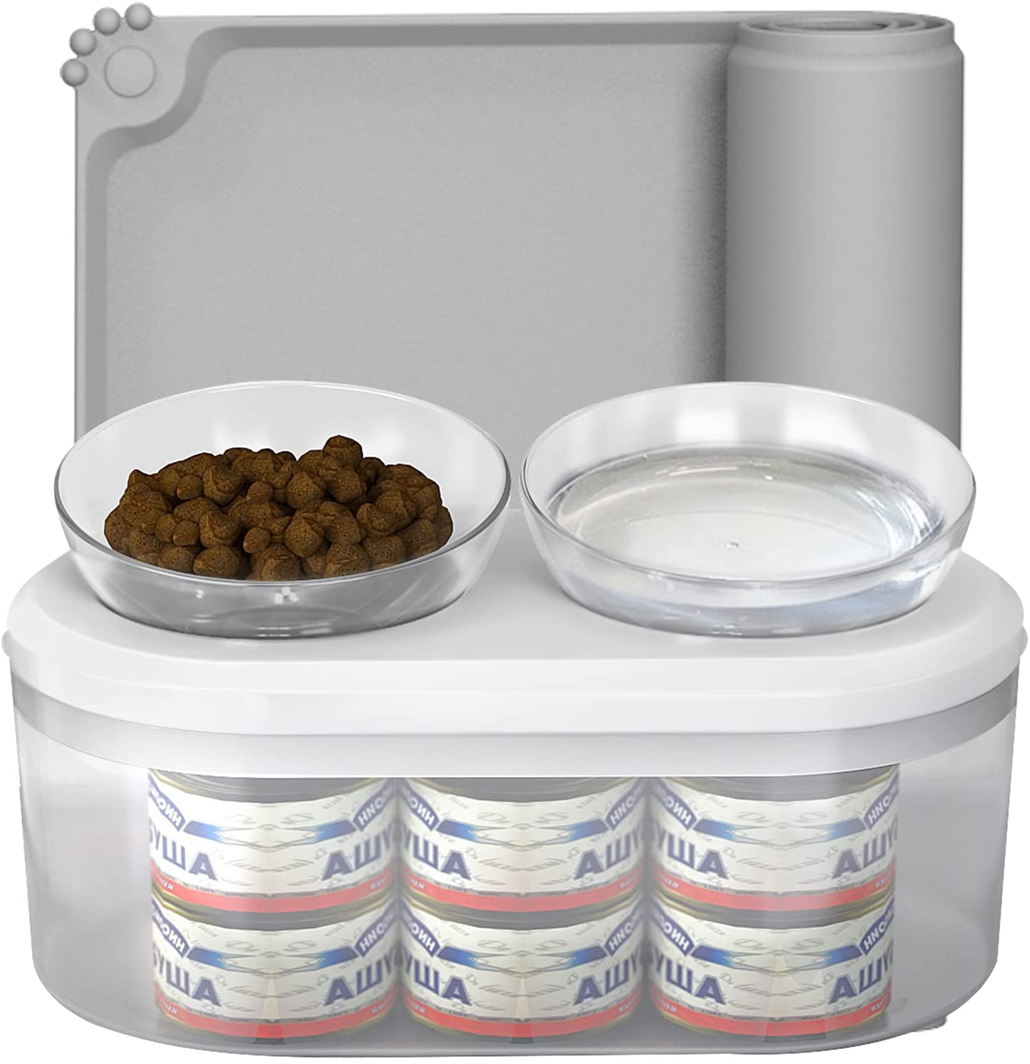 Cat Food Bowls /Cat Water Bowl 15° Tilted Cat Bowl Set with Food Container and Non Slip Waterproof Mat for Indoor Cats, 28 Ounces Bowls' Capacity…