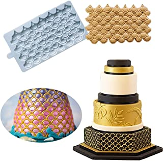 Cake Border Decoration Silicone Mold- BUSOHA Mermaid Scale Embossing Mat Dragon Scale Imprint Fondant Impression Mold Fish Scale Flower Lace Kitchen Tool, Sugarcarft Chocolate Candy Gumpaste Clay Moul