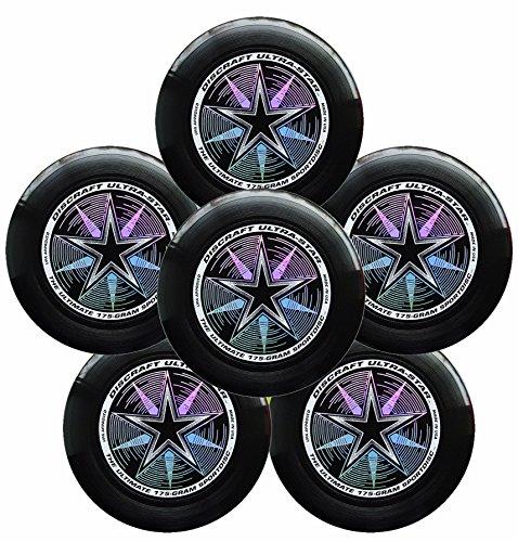 Discraft Ultra-Star 175g Ultimate Frisbee Sport Disc (6 Pack) Black
