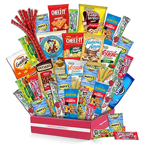 Snack Box Variety Pack (40 Count) Candy Gift Basket - College Student Care Package, Prime Food Arrangement Chips, Cookies, Bar's - Ultimate Birthday Treat for Women, Men, Adults, Teens, Kids