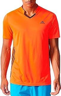 adidas Performance Mens Club Short Sleeve Badminton Sports Polo Shirt Top Orange