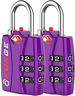 Forge TSA Luggage Combination Lock - Open Alert Indicator, Easy Read Dials, Alloy Body- Ideal for Travel, Lockers, Bags (P...