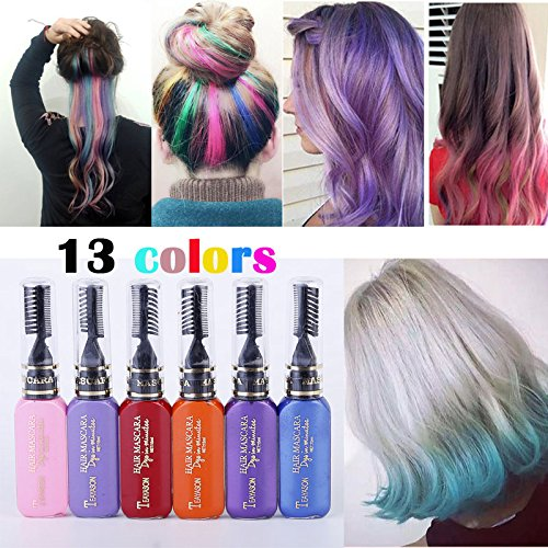 13 Farben DIY Langlebige Temporäre Schimmer Haar Farben Creme mit Kämme Haare Färben Kreide Haartönungen