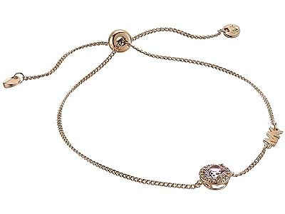 Michael Kors Sterling Silver Pave Halo Slider Bracelet (14K Rose Gold Plating) Bracelet