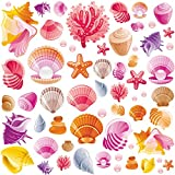 RW-1069 Sea Shells and Starfish Wall Decals Colorful Underwater World Wall Stickers DIY Removable Shell Starfish Conch Wall Art Decor for Kids Baby Bedroom Bathroom Living Room Nursery Room Decoration