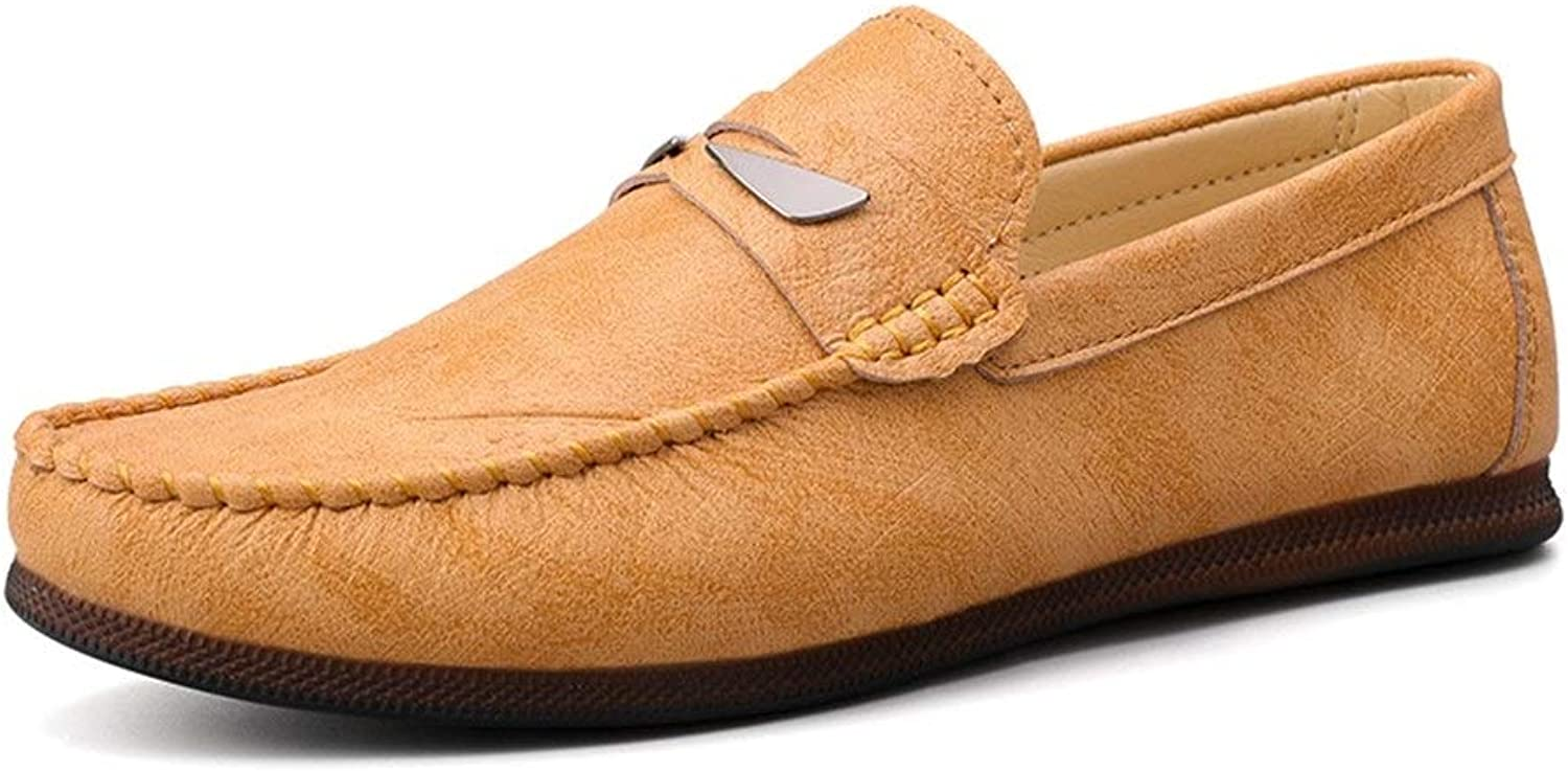 Ino Leisure Driving Loafers for Men Round Toe Oxfords Casual Flat Penny shoes PU Leather Upper Slip On Stitch Walk Boat shoes Jackanapes