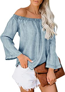 Ofenbuy Womens Chambray Off The Shoulder Tops Denim Casual Summer Loose Long Sleeve Blouse Shirts