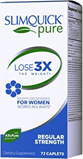 Slimquick Pure Regular Strength Caplets dietary supplement, 72 Count, Lose 3x the weight (Packaging May Vary)