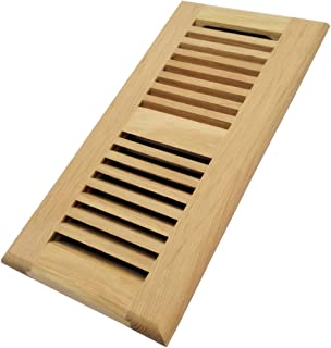 Homewell White Oak Wood Floor Register, Drop in Vent with Damper, 4x10 Inch, Unfinished