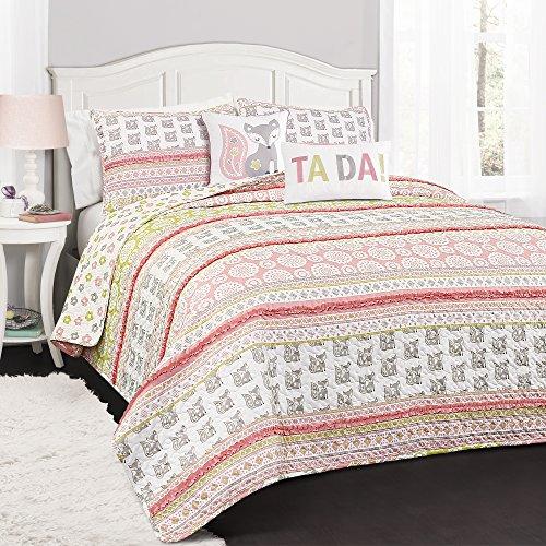 Lush Decor 16T002270 Quilt Set, Twin, Pink & Gray