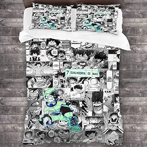Zenghh My Hero Academia School - MIDORIYA IZUKU DUVET CUBIERTA Y ALMARTAMIENTO 3 PCS Set Boku No Hero Academia - Deku Evolution Battle Traje Formulario Bolsa de ropa de cama Manga Sketch Sudoku Dial D
