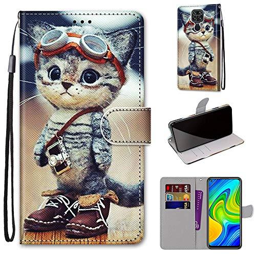 DICASI Lederhülle Kompatibel mit Xiaomi Redmi Note 9 Hülle, Stoßfest PU Leder Flip Wallet Hülle Kartensteckplätzen Magnet & Standfunktion Schutzhülle für Xiaomi Redmi Note 9 / Redmi 10X 4G