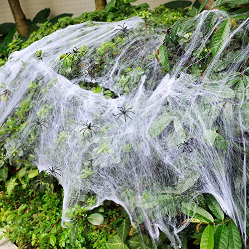 ASOONYUM Outdoor Halloween Decorations Spider Webs Stretchy for Indoor/Bar/Windows/Door Holiday Decor Party Favors Supplies, 5 Colors Horror Spiders Webbing with 10 Fake Spider