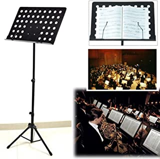 Techtest Music Stand for Notes Books Black Adjustable Book/music Sheet Notation Stand Keyboard Instrument with Bag Orchestra Orchestral Book Reading Folding Singing Musical Sheet Holder for Singer