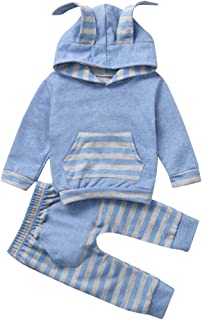 Jchen TM Infant Baby Boys Girls Easter Rabbit Print Striped Romper Jumpsuit Outfits for 0-18 Months