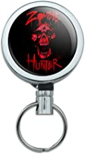 Zombie Hunter Red Skull Heavy Duty Metal Retractable Reel ID Badge Key Card Tag Holder with Belt Clip