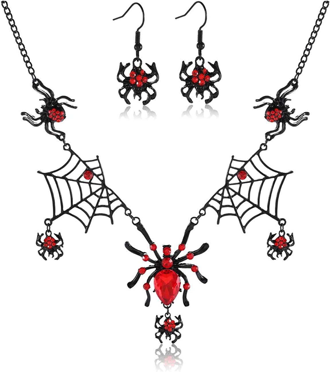 ARATLENCH Halloween Spider Earrings Necklace Gothic Rhinestone Spider Dangle Earrings Black Statement Spider Web Pendant Necklace Jewelry Set Halloween Party Costume for Women Girls