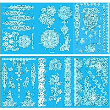 White Henna Temporary Tattoo Flash Bride Wedding Tattoos White Lace Tattoo Waterproof Body Fake Tattoo Henna Tattoo Stickers for Women Festival Clothing Accessories  6 Sheets