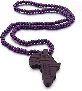 Africa Map Wooden Necklace Hip Hop Hipa Map Wood Pendant Jewelry for Men and Women