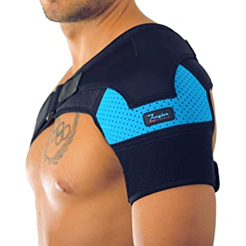 Shoulder Support Brace for Men and Women by Zeegler Orthosis - Adjustable Wrap | Compression and Stability for Chronic Pain and Aches in injuries such as Torn Rotator Cuff, Dislocated AC Joint, Subluxation, Tears and Sprains (M - XL (Left/Right)
