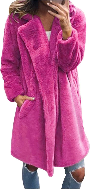 Aniywn Women's Fuzzy Fleece Lapel Open Front Long Cardigan Coat Solid Faux Fur Warm Winter Outwear Jackets with Pockets