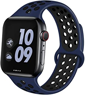 AOSOK Sport Band for Apple Watch 44mm 40mm 42mm 38mm, Breathable Soft Silicone Sport Band Replacement Wrist Strap for Apple Watch Series 4/3/2/1,Nike+,Sport, Edition (Midnightblue, 38mm/40mm S/M)