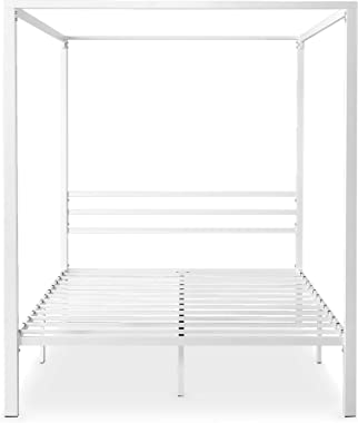 Zinus Patricia Queen Bed Frame - White Canopy Four Poster Bed with Metal Slats