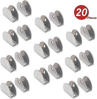 NUZAMAS - Juego de 20 soportes para estante de cristal – 201 soportes de acero inoxidable con abrazadera de vidrio, abrazadera rectangular ajustable de 8 – 12 mm de grosor, tamaño 27,5 x 37 x 16,5 mm