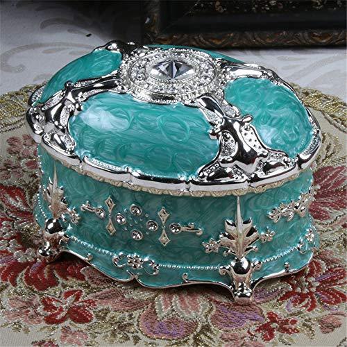 joyeros,Caja de almacenamiento de joyas de piedras preciosas retro de estilo europeo, caja de joyería casera ovalada exquisita de alta gama-verde