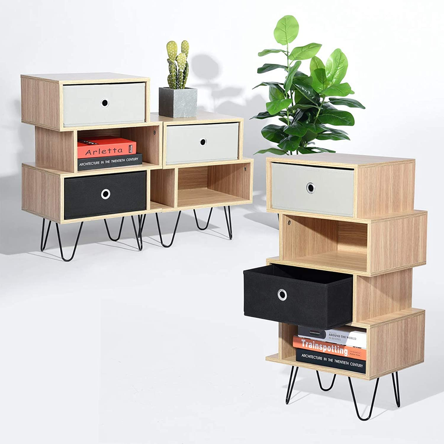 HOMEMAKE Student Computer Desk Writing Table with Draw and Open Bookcase for Back to School (Bookcase)