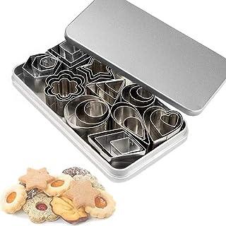 30 mini emporte-pièces pour découper pâte polymère, pâte feuilletée, fond de tarte et fruits - étoile, fleur, hexagone, co...
