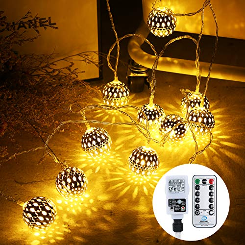 Othran 29.5FT Moroccan Fairy Lights Plug in, 30 LED Silver Ball String Lights Mains Powered with Remote, 8 Modes & Timer, Warm White Fairy Lights for Christmas, Party, Festival, Wedding Decor