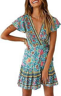 Byinns Women's Floral Mini Faux Wrap Dress Casual Summer Tea Beach Bohe Dresses Plus Size US2-20