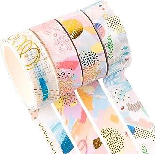 YUBX 4 Rouleaux Washi Tape Ruban Adhésif Papier Décoratif Masking Tape pour Scrapbooking Artisanat de Bricolage (Geometric 4)