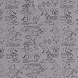 Disney Mickey Skribbel Cretonne – dunkelgrau —