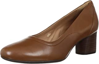 Clarks Women's Un Cosmo Step Dark Tan Lea Leather Pumps