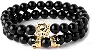 Joya Gift Beads Bracelet Set for Men with Black Onxy Crown Tiger Head Charm Handmade Jewelry