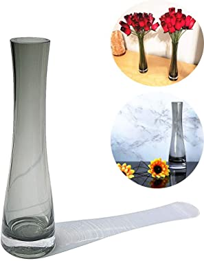 Hand-Made Blown Art Bud Glass Vase, Single Stem Vases for Home and Office Décor.