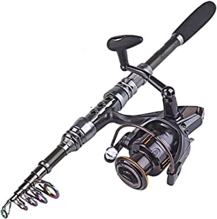 See Something 1.8 3.0M Carbon Telescopic Carp Fishing Rod Sets and 14Bb Metal Spoon Reel Lure Spinning Fishing Reel