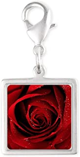 Silver Square Charm Red Rose