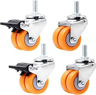 (M12 x25 mm) 40 mm rubberen zwenkwiel voor meubels, gele dubbele trolley zwenkwiel met rem, zwenkwiel voor bureaustoel/bab...