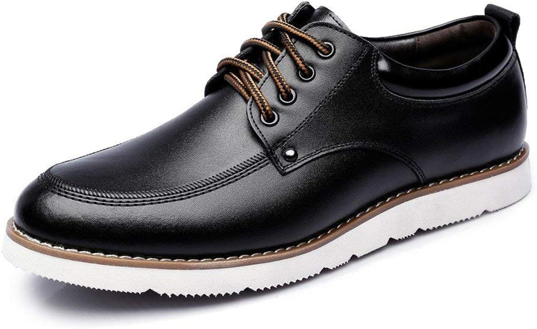 FuweiEncore 2018 Men's Lace up Loafers shoes PU Leather Casual Business Soft Sole Flats Oxfords for Men (color  Brown, Size  45 EU) (color   Black, Size   44 EU)
