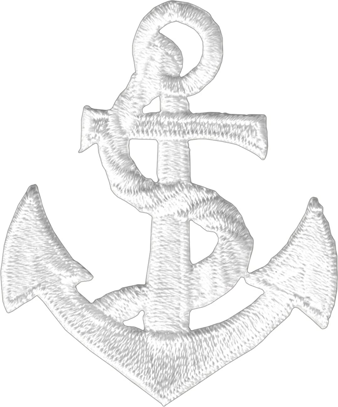 White Anchor - Embroidered Iron On or Sew On Patch
